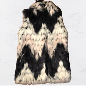 LOVE TOKEN Faux Fur Zsa Zsa Midi Vest ZigZ Small